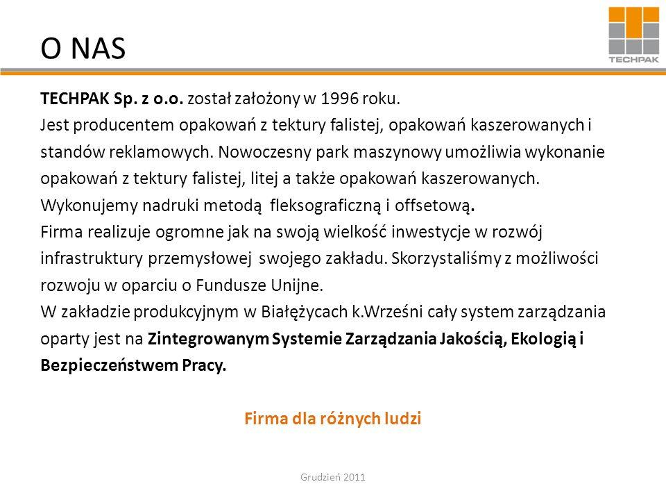 O NAS TECHPAK Sp. z o.o. został założony w 1996 roku. Jest producentem opakowań z tektury falistej, opakowań kaszerowanych i standów reklamowych. Nowo