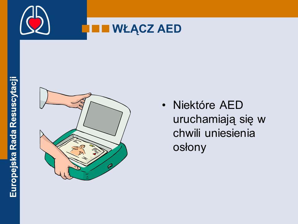 Europejska Rada Resuscytacji WŁĄCZ AED Niektóre AED uruchamiają się w chwili uniesienia osłony