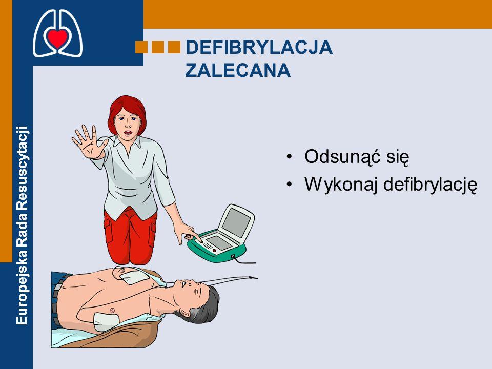 Europejska Rada Resuscytacji DEFIBRYLACJA ZALECANA Odsunąć się Wykonaj defibrylację