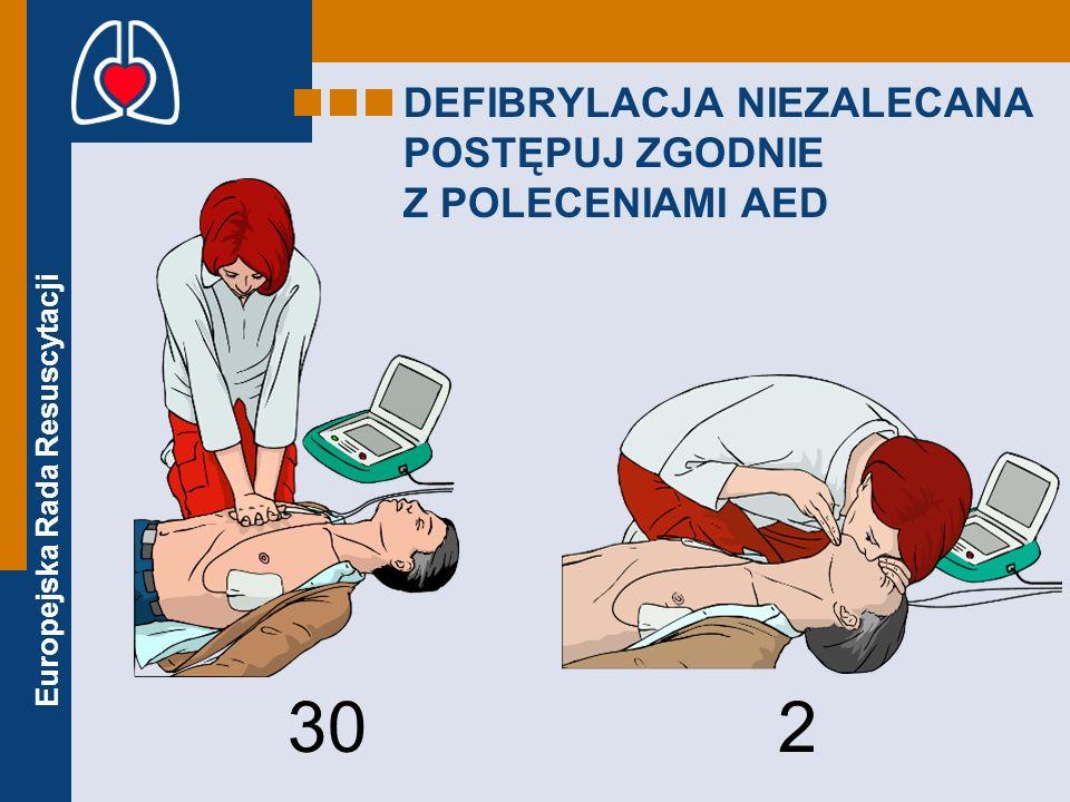 Europejska Rada Resuscytacji DEFIBRYLACJA NIEZALECANA POSTĘPUJ ZGODNIE Z POLECENIAMI AED 30 2