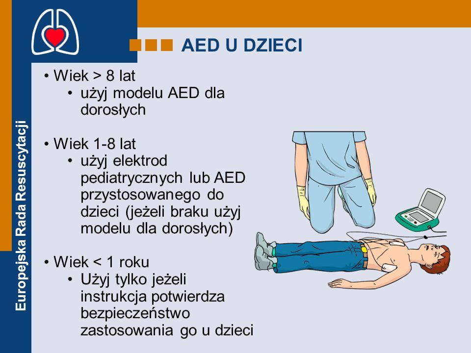 Europejska Rada Resuscytacji AED U DZIECI Wiek > 8 lat użyj modelu AED dla dorosłych Wiek 1-8 lat użyj elektrod pediatrycznych lub AED przystosowanego