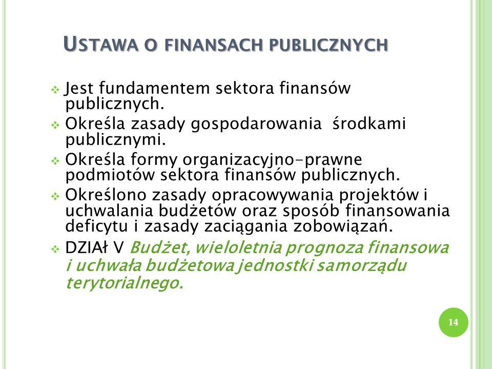 U STAWA O FINANSACH PUBLICZNYCH Jest fundamentem sektora finansów publicznych. Określa zasady gospodarowania środkami publicznymi. Określa formy organ