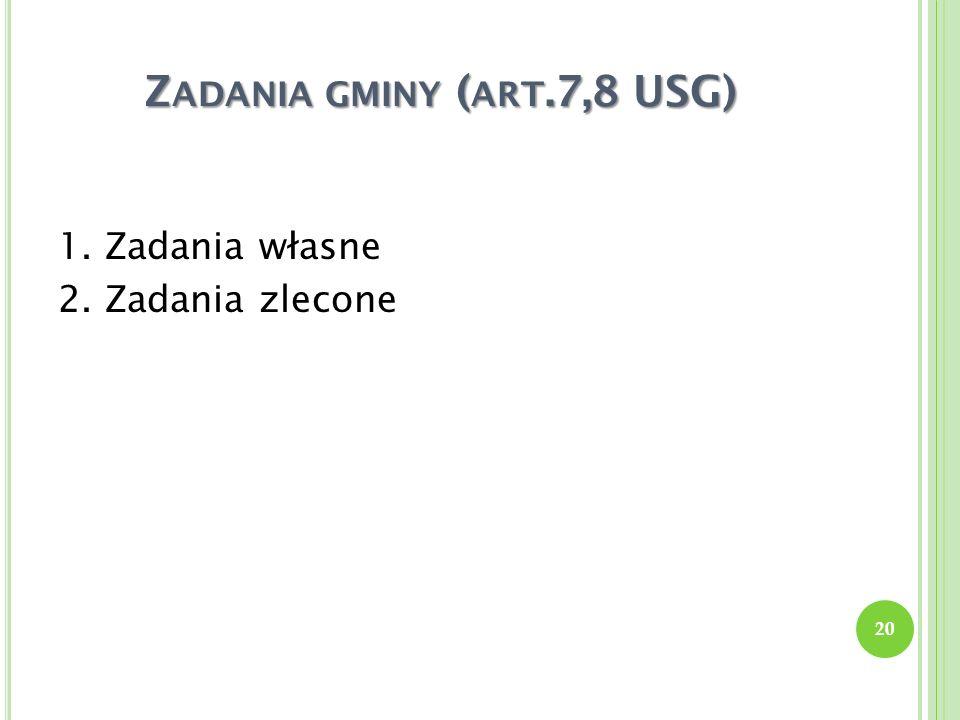 Z ADANIA GMINY ( ART.7,8 USG) 1. Zadania własne 2. Zadania zlecone 20