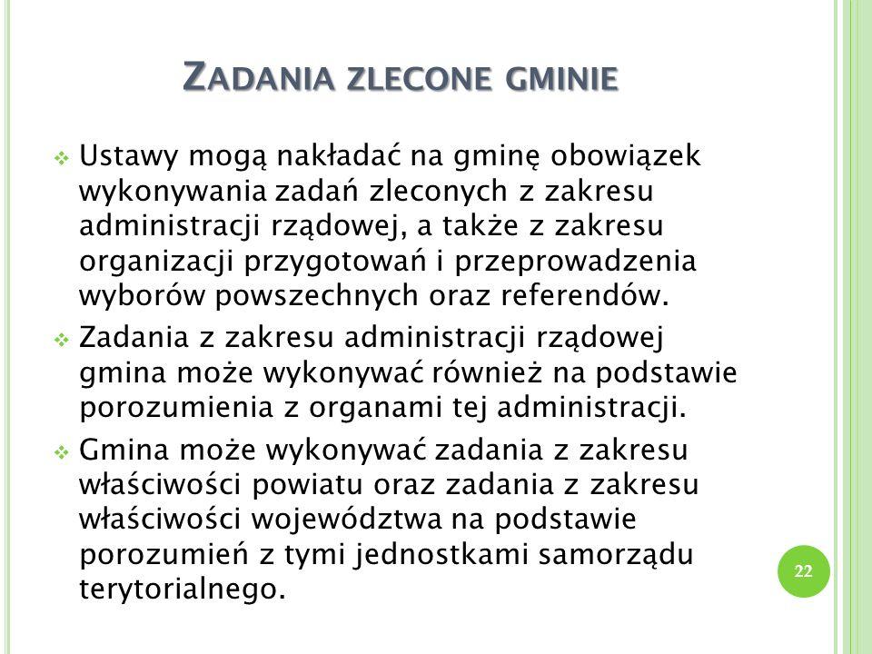 Z ADANIA ZLECONE GMINIE Ustawy mogą nakładać na gminę obowiązek wykonywania zadań zleconych z zakresu administracji rządowej, a także z zakresu organi