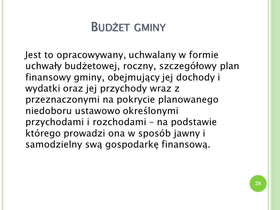 B UD Ż ET GMINY Jest to opracowywany, uchwalany w formie uchwały budżetowej, roczny, szczegółowy plan finansowy gminy, obejmujący jej dochody i wydatk