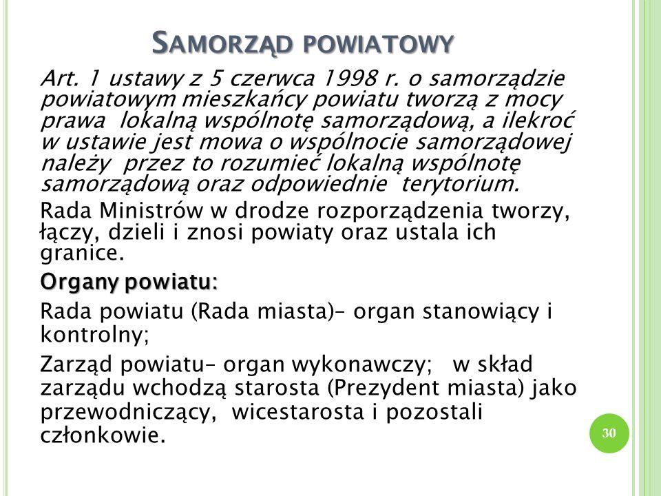 S AMORZ Ą D POWIATOWY Art. 1 ustawy z 5 czerwca 1998 r. o samorządzie powiatowym mieszkańcy powiatu tworzą z mocy prawa lokalną wspólnotę samorządową,