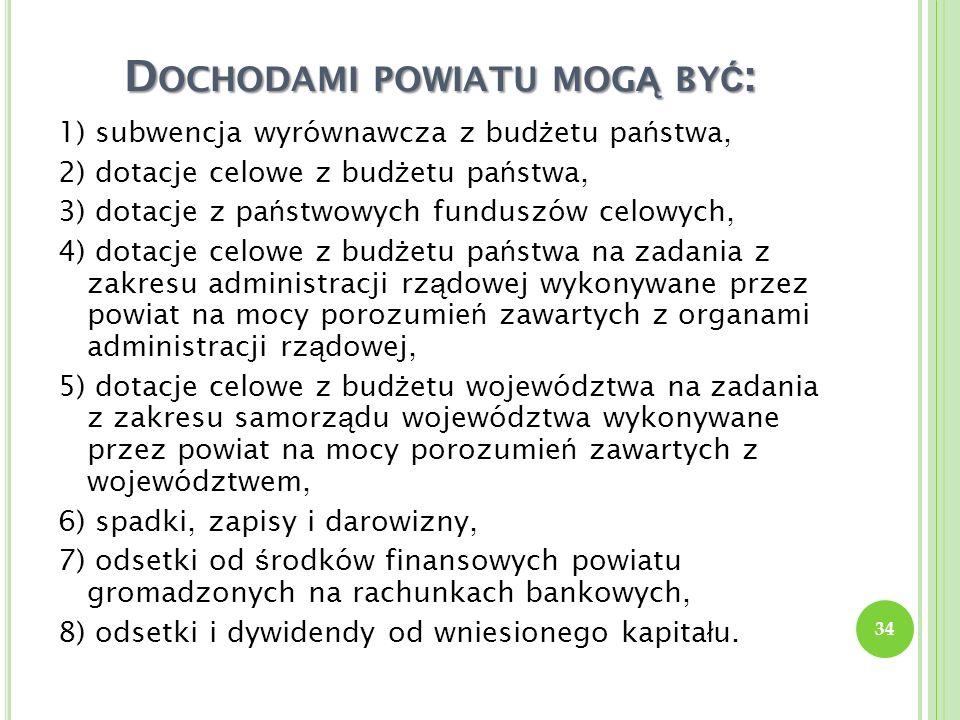 D OCHODAMI POWIATU MOG Ą BY Ć : 1) subwencja wyrównawcza z bud ż etu pa ń stwa, 2) dotacje celowe z bud ż etu pa ń stwa, 3) dotacje z pa ń stwowych fu