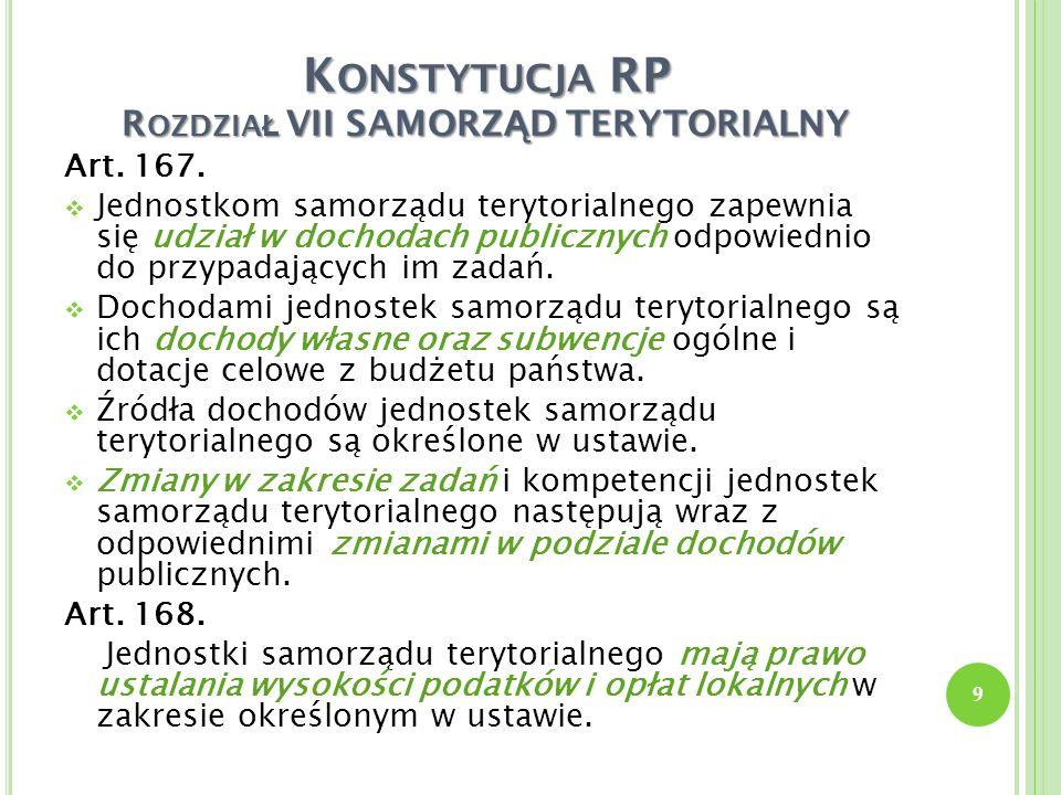 K ONSTYTUCJA RP R OZDZIA Ł VII SAMORZ Ą D TERYTORIALNY Art. 167. Jednostkom samorządu terytorialnego zapewnia się udział w dochodach publicznych odpow