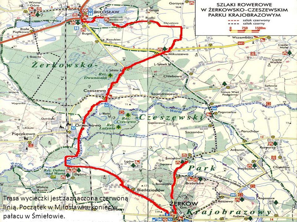 Trasa wycieczki jest zaznaczona czerwoną linią. Początek w Miłosławiu, koniec w pałacu w Śmiełowie.