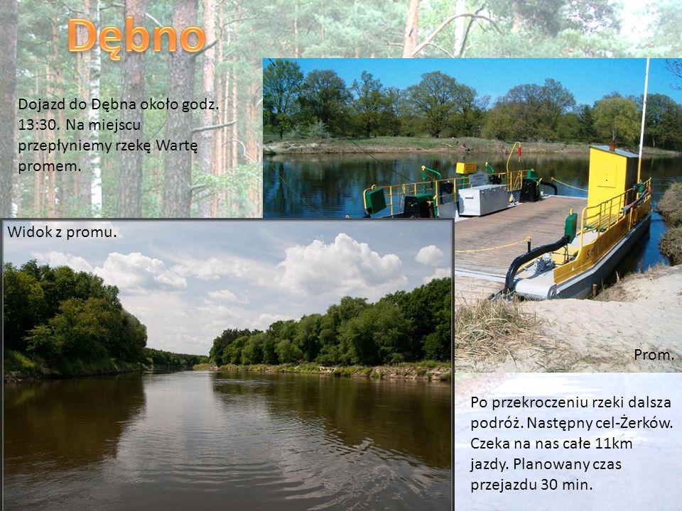 Dojazd do Dębna około godz. 13:30. Na miejscu przepłyniemy rzekę Wartę promem. Po przekroczeniu rzeki dalsza podróż. Następny cel-Żerków. Czeka na nas