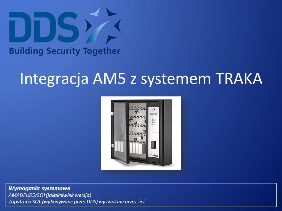 Integracja AM5 z systemem TRAKA Wymagania systemowe AMADEUS5/SQL(jakakolwiek wersja) Zapytania SQL (wykonywane przez DDS) wyzwalane przez sieć