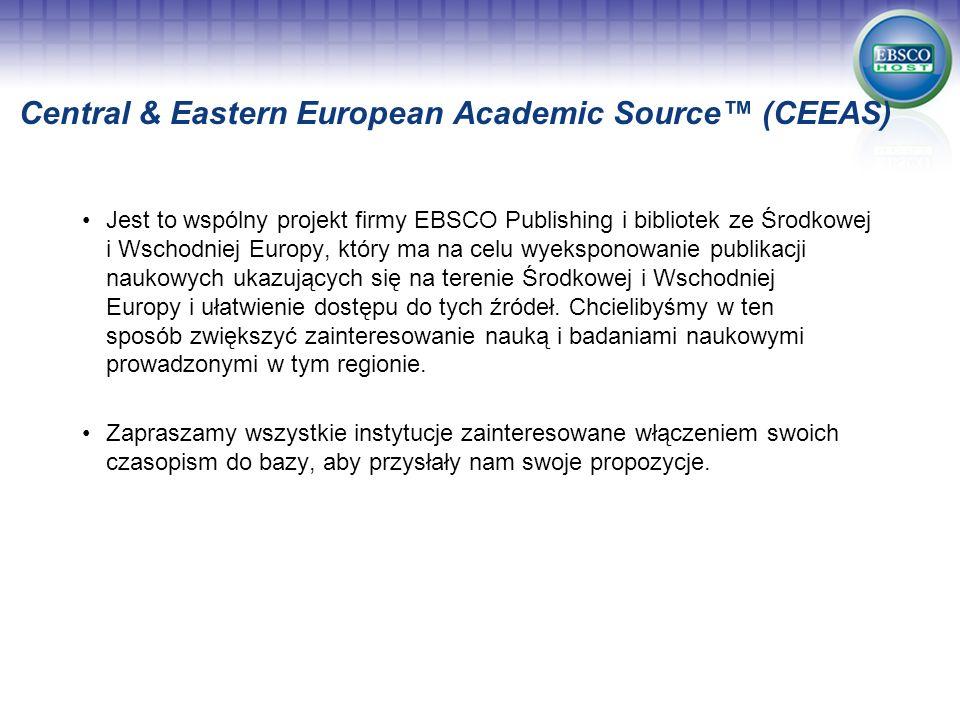 Jest to wspólny projekt firmy EBSCO Publishing i bibliotek ze Środkowej i Wschodniej Europy, który ma na celu wyeksponowanie publikacji naukowych ukaz