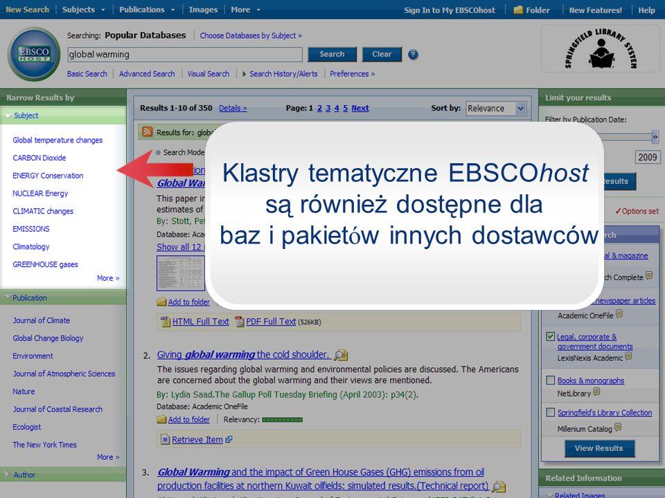 Klastry tematyczne EBSCOhost są również dostępne dla baz i pakiet ó w innych dostawców