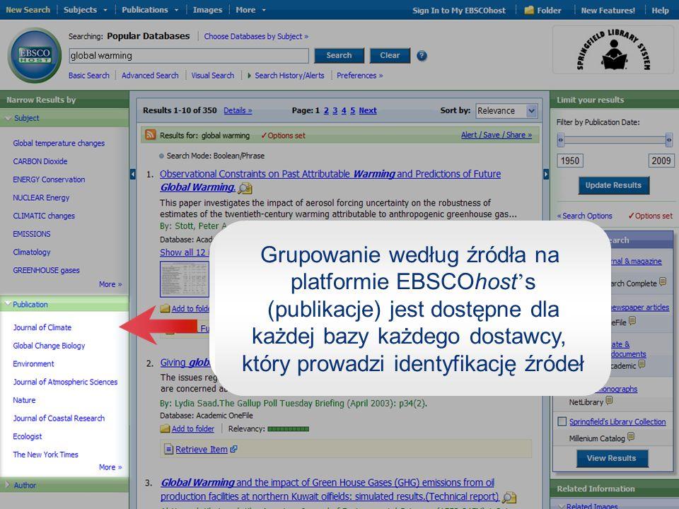 Grupowanie według źródła na platformie EBSCOhost s (publikacje) jest dostępne dla każdej bazy każdego dostawcy, który prowadzi identyfikację źródeł