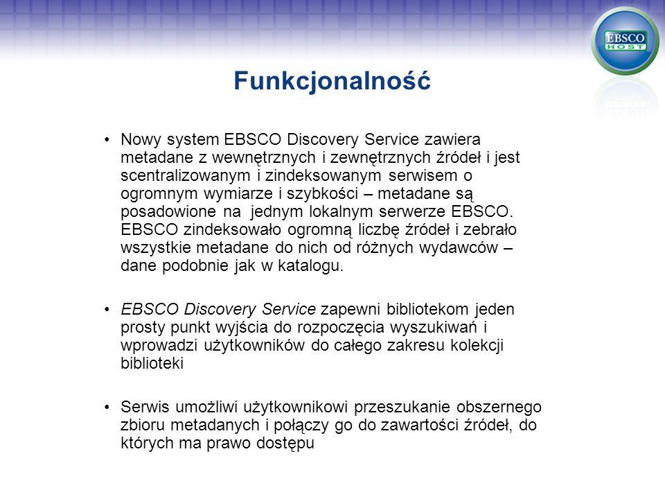 Funkcjonalność Nowy system EBSCO Discovery Service zawiera metadane z wewnętrznych i zewnętrznych źródeł i jest scentralizowanym i zindeksowanym serwi