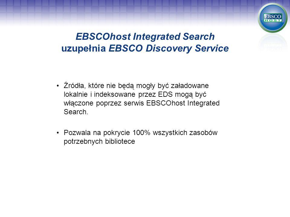 EBSCOhost Integrated Search uzupełnia EBSCO Discovery Service Źródła, które nie będą mogły być załadowane lokalnie i indeksowane przez EDS mogą być wł
