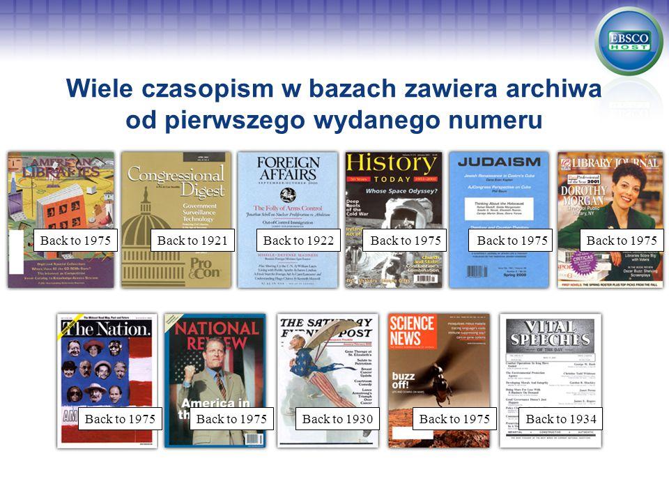 Wiele czasopism w bazach zawiera archiwa od pierwszego wydanego numeru Back to 1975Back to 1922Back to 1975 Back to 1930Back to 1975Back to 1934 Back