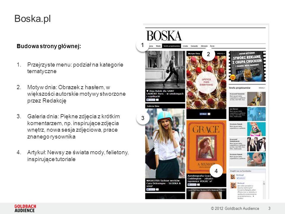 © 2012 Goldbach Audience3 Boska.pl Budowa strony głównej: 1.Przejrzyste menu: podział na kategorie tematyczne 2.Motyw dnia: Obrazek z hasłem, w większ