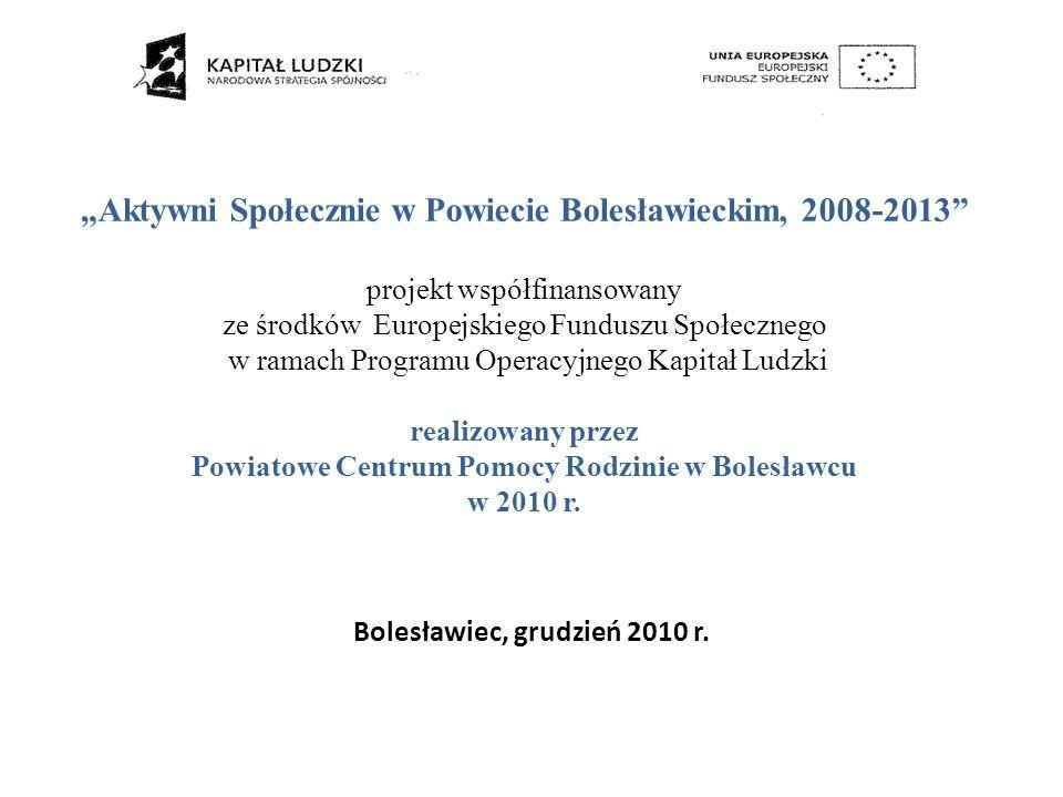 Aktywni Społecznie w Powiecie Bolesławieckim, 2008-2013 projekt współfinansowany ze środków Europejskiego Funduszu Społecznego w ramach Programu Opera