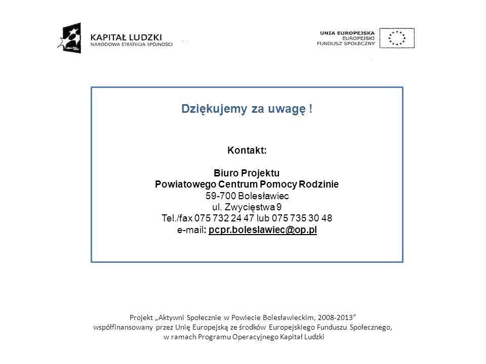 Dziękujemy za uwagę ! Kontakt: Biuro Projektu Powiatowego Centrum Pomocy Rodzinie 59-700 Bolesławiec ul. Zwycięstwa 9 Tel./fax 075 732 24 47 lub 075 7