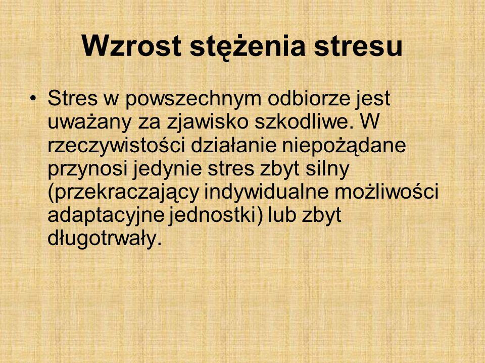 Wzrost stężenia stresu Stres w powszechnym odbiorze jest uważany za zjawisko szkodliwe.