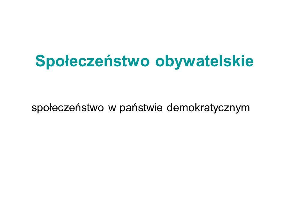 Społeczeństwo obywatelskie społeczeństwo w państwie demokratycznym