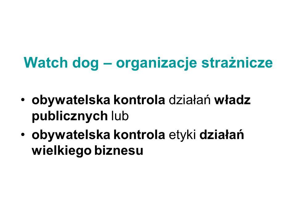 Watch dog – organizacje strażnicze obywatelska kontrola działań władz publicznych lub obywatelska kontrola etyki działań wielkiego biznesu