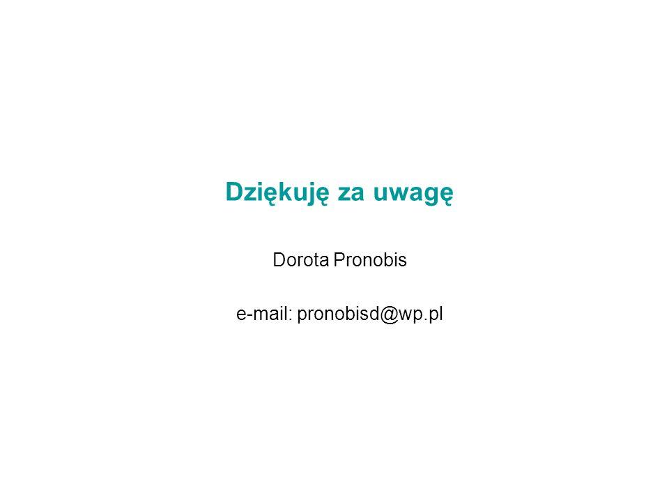 Dziękuję za uwagę Dorota Pronobis e-mail: pronobisd@wp.pl
