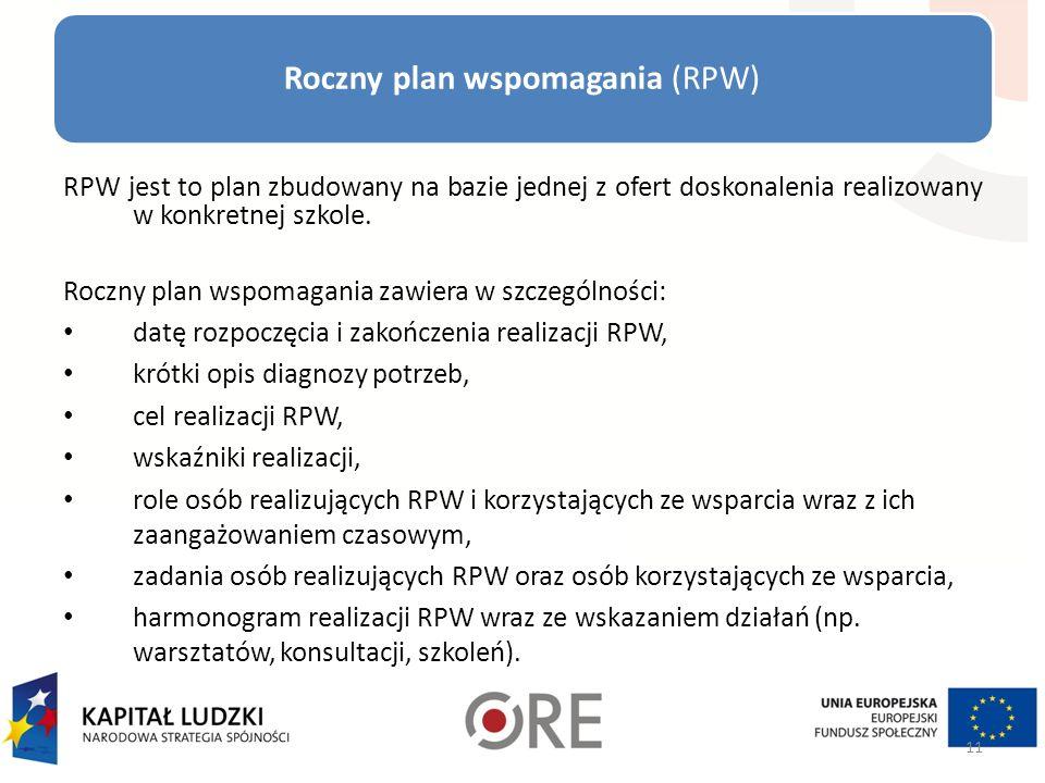 Roczny plan wspomagania (RPW) RPW jest to plan zbudowany na bazie jednej z ofert doskonalenia realizowany w konkretnej szkole.