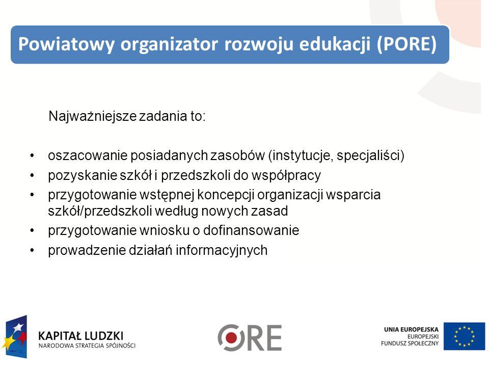 Powiatowy organizator rozwoju edukacji (PORE) Najważniejsze zadania to: oszacowanie posiadanych zasobów (instytucje, specjaliści) pozyskanie szkół i przedszkoli do współpracy przygotowanie wstępnej koncepcji organizacji wsparcia szkół/przedszkoli według nowych zasad przygotowanie wniosku o dofinansowanie prowadzenie działań informacyjnych