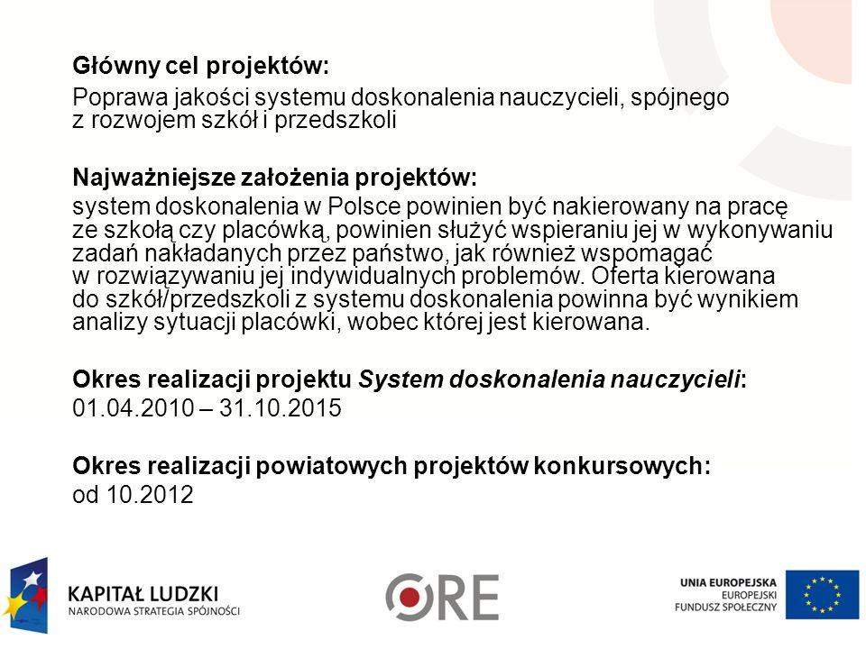 Główny cel projektów: Poprawa jakości systemu doskonalenia nauczycieli, spójnego z rozwojem szkół i przedszkoli Najważniejsze założenia projektów: system doskonalenia w Polsce powinien być nakierowany na pracę ze szkołą czy placówką, powinien służyć wspieraniu jej w wykonywaniu zadań nakładanych przez państwo, jak również wspomagać w rozwiązywaniu jej indywidualnych problemów.