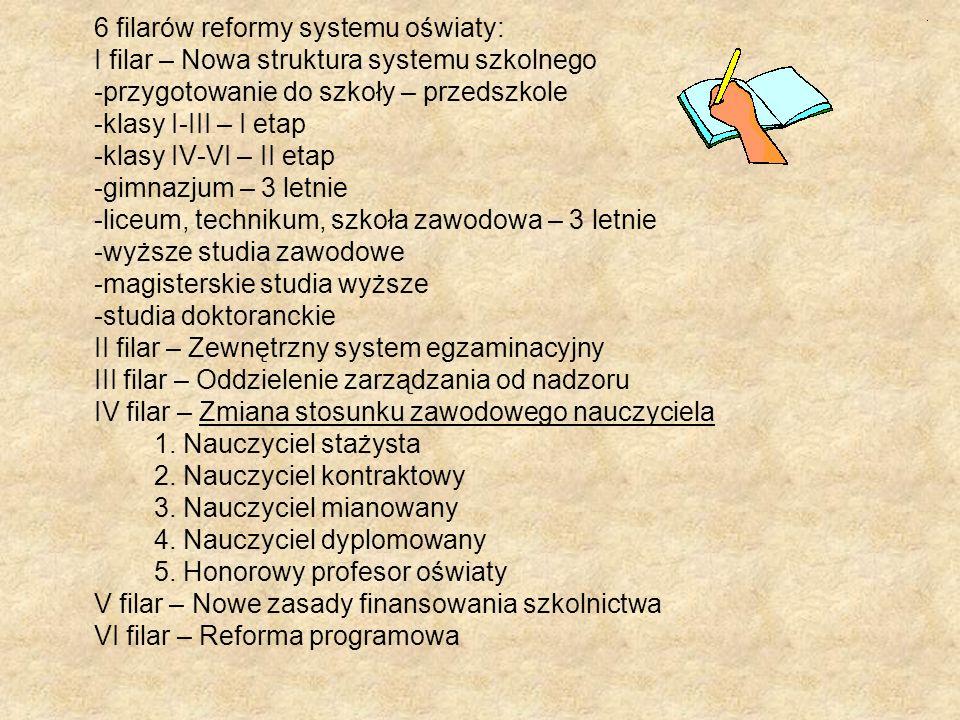 6 filarów reformy systemu oświaty: I filar – Nowa struktura systemu szkolnego -przygotowanie do szkoły – przedszkole -klasy I-III – I etap -klasy IV-V