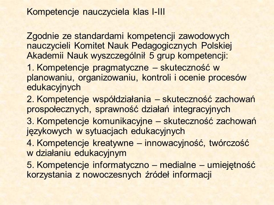 Kompetencje nauczyciela klas I-III Zgodnie ze standardami kompetencji zawodowych nauczycieli Komitet Nauk Pedagogicznych Polskiej Akademii Nauk wyszcz