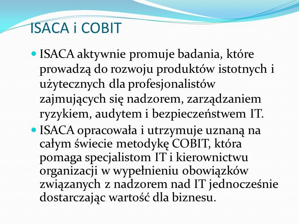 ISACA i COBIT ISACA aktywnie promuje badania, które prowadzą do rozwoju produktów istotnych i użytecznych dla profesjonalistów zajmujących się nadzorem, zarządzaniem ryzykiem, audytem i bezpieczeństwem IT.