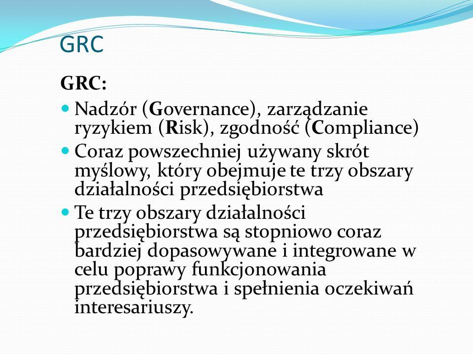 GRC GRC: Nadzór (Governance), zarządzanie ryzykiem (Risk), zgodność (Compliance) Coraz powszechniej używany skrót myślowy, który obejmuje te trzy obszary działalności przedsiębiorstwa Te trzy obszary działalności przedsiębiorstwa są stopniowo coraz bardziej dopasowywane i integrowane w celu poprawy funkcjonowania przedsiębiorstwa i spełnienia oczekiwań interesariuszy.
