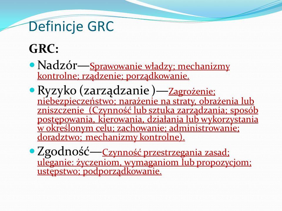 Definicje GRC GRC: Nadzór Sprawowanie władzy; mechanizmy kontrolne; rządzenie; porządkowanie.