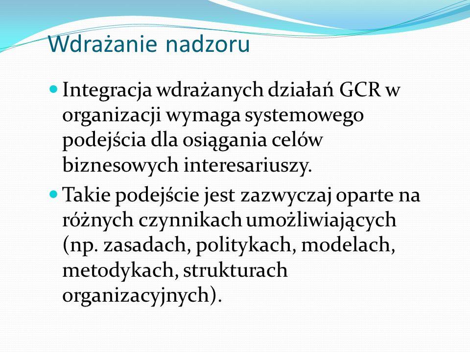 Wdrażanie nadzoru Integracja wdrażanych działań GCR w organizacji wymaga systemowego podejścia dla osiągania celów biznesowych interesariuszy.