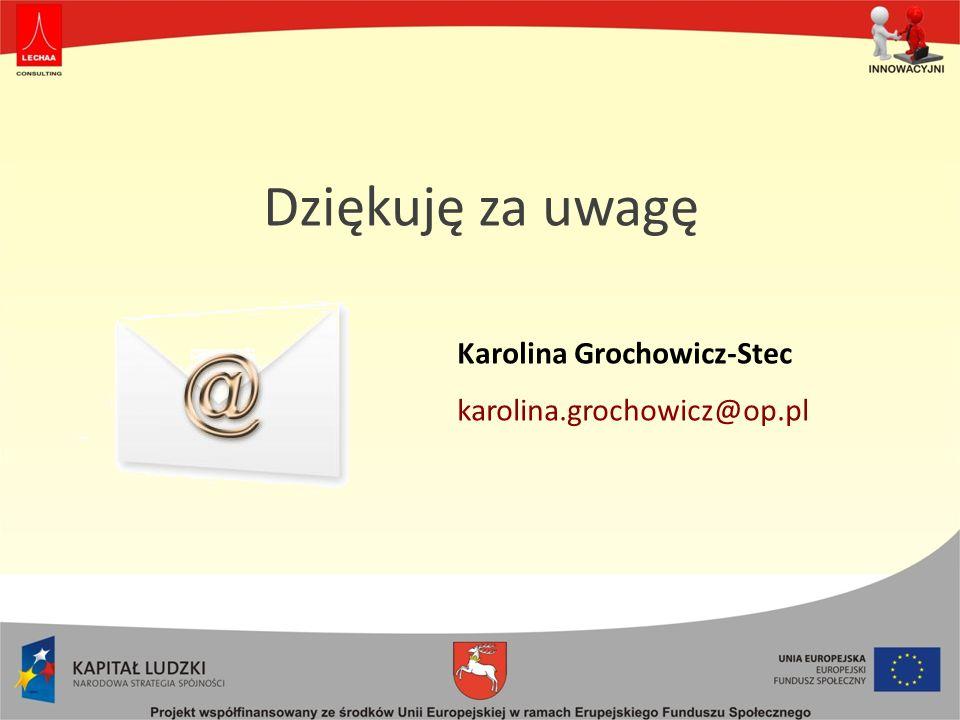 Dziękuję za uwagę Karolina Grochowicz-Stec karolina.grochowicz@op.pl