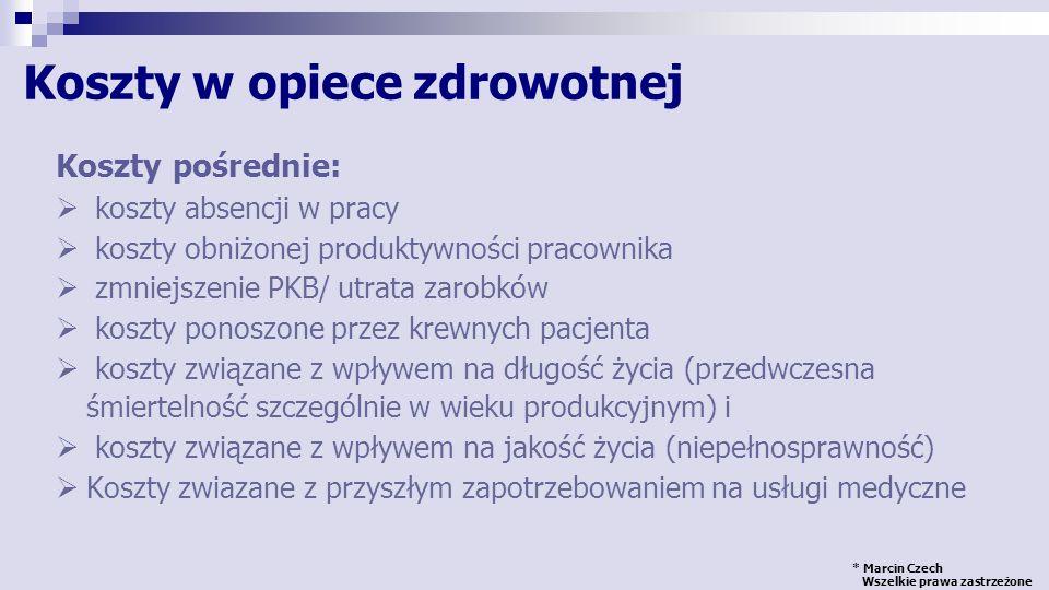 * Marcin Czech Wszelkie prawa zastrzeżone Ocena programu ochrony zdrowia Programy ochrony zdrowia KosztyRezultatyPerspektywa Horyzont czasowy WejścieWyjście