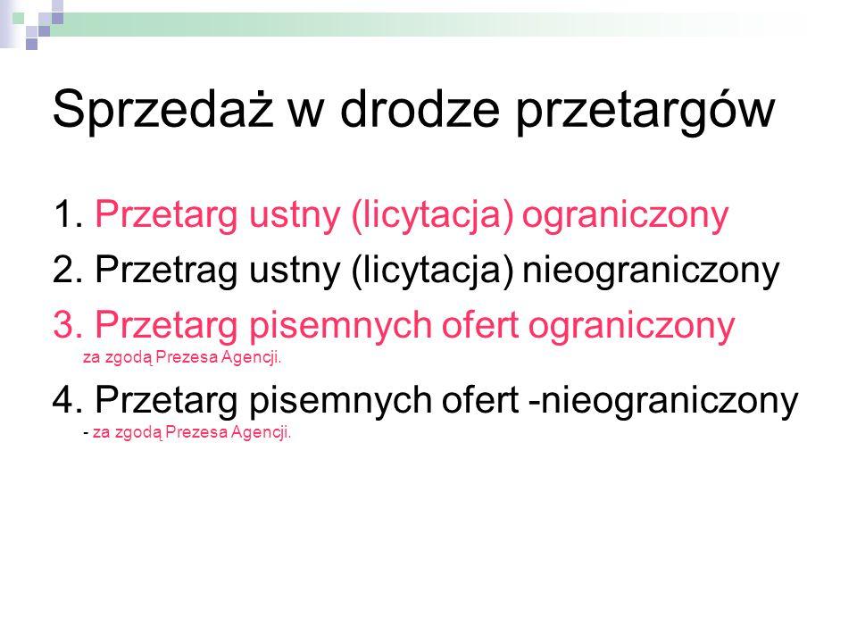 Sprzedaż w drodze przetargów 1. Przetarg ustny (licytacja) ograniczony 2. Przetrag ustny (licytacja) nieograniczony 3. Przetarg pisemnych ofert ograni