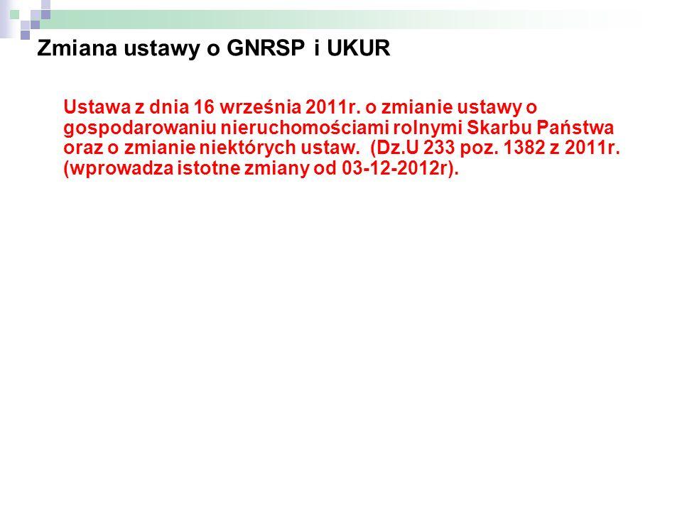 Zmiana ustawy o GNRSP i UKUR Ustawa z dnia 16 września 2011r. o zmianie ustawy o gospodarowaniu nieruchomościami rolnymi Skarbu Państwa oraz o zmianie