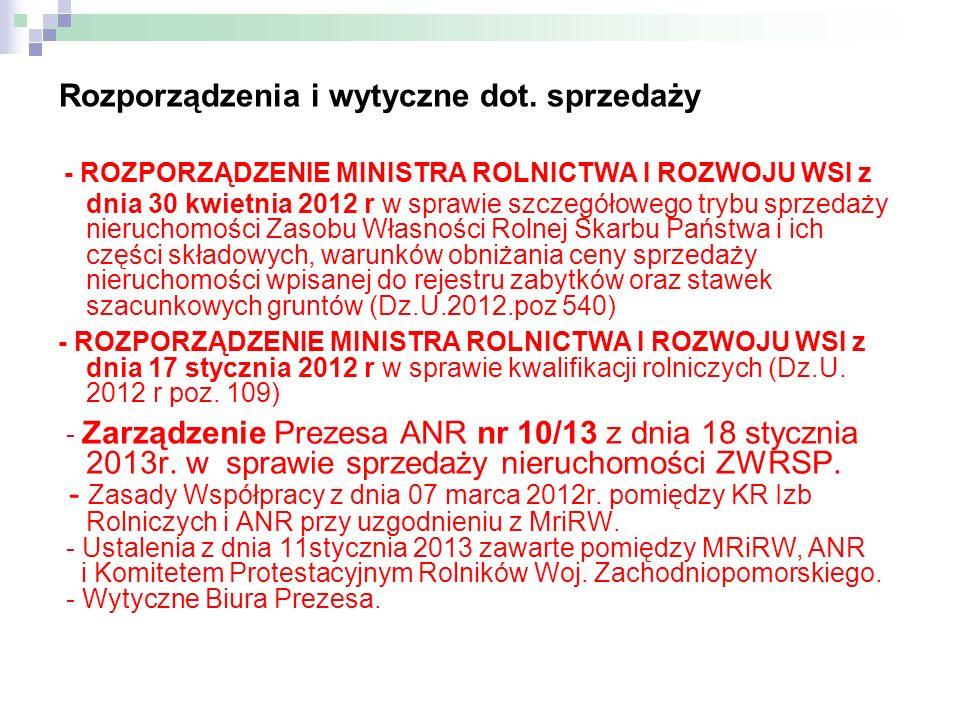 Rozporządzenia i wytyczne dot. sprzedaży - ROZPORZĄDZENIE MINISTRA ROLNICTWA I ROZWOJU WSI z dnia 30 kwietnia 2012 r w sprawie szczegółowego trybu spr