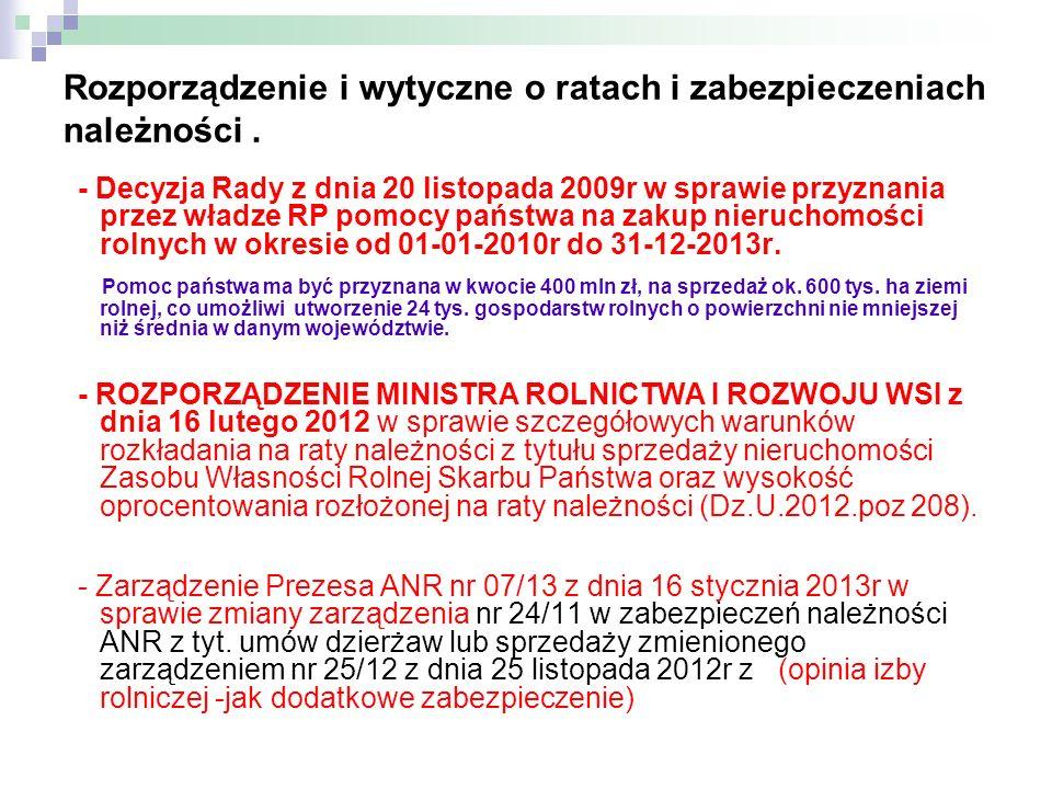 Rozporządzenie i wytyczne o ratach i zabezpieczeniach należności. - Decyzja Rady z dnia 20 listopada 2009r w sprawie przyznania przez władze RP pomocy