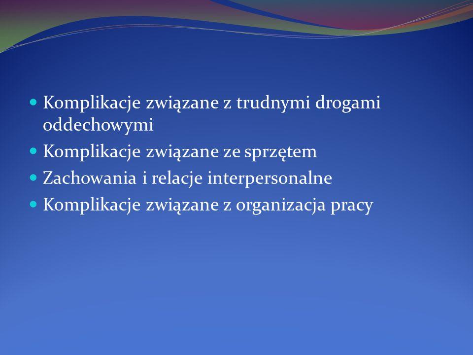 Komplikacje związane z trudnymi drogami oddechowymi Komplikacje związane ze sprzętem Zachowania i relacje interpersonalne Komplikacje związane z organ