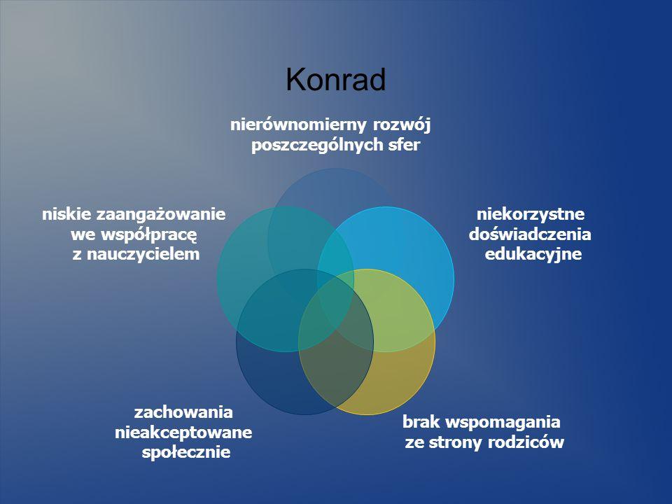 Konrad nierównomierny rozwój poszczególnych sfer niekorzystne doświadczenia edukacyjne brak wspomagania ze strony rodziców zachowania nieakceptowane s