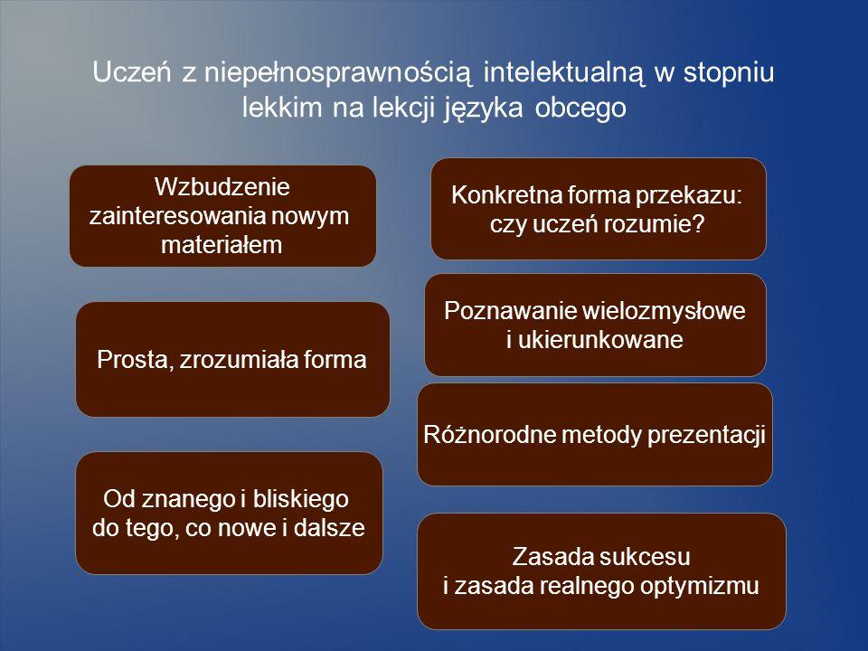 Uczeń z niepełnosprawnością intelektualną w stopniu lekkim na lekcji języka obcego Prosta, zrozumiała forma Konkretna forma przekazu: czy uczeń rozumi