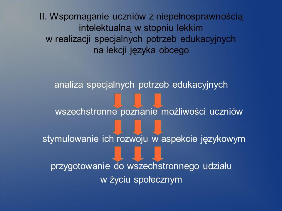 II. Wspomaganie uczniów z niepełnosprawnością intelektualną w stopniu lekkim w realizacji specjalnych potrzeb edukacyjnych na lekcji języka obcego ana