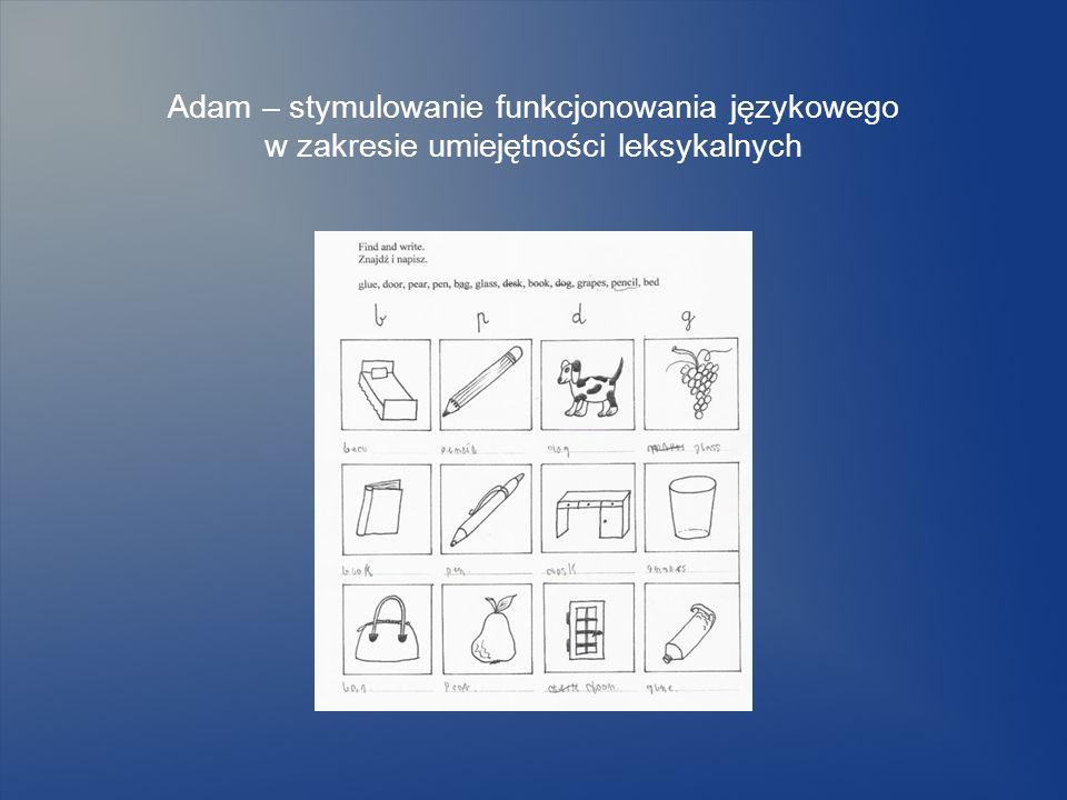 Adam – stymulowanie funkcjonowania językowego w zakresie umiejętności leksykalnych