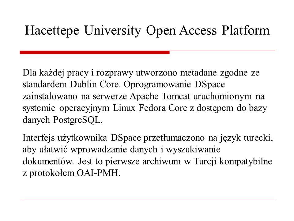 Hacettepe University Open Access Platform Dla każdej pracy i rozprawy utworzono metadane zgodne ze standardem Dublin Core.