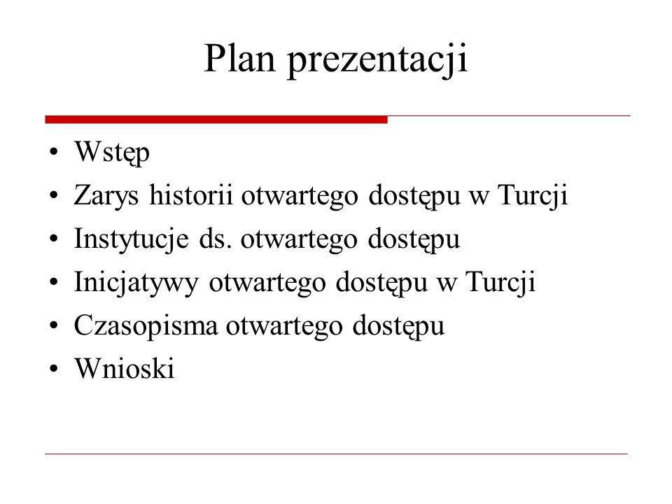 Plan prezentacji Wstęp Zarys historii otwartego dostępu w Turcji Instytucje ds.